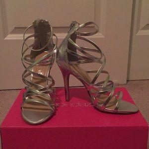 Karley 6.5 ShoeDazzle Silver Heels BRAND NEW